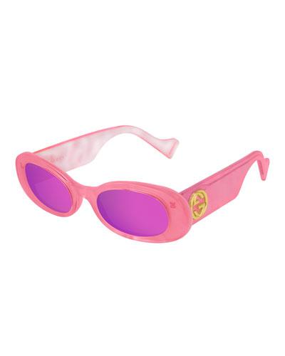 Mirrored Oval Sunglasses w/ Interlocking G Temples