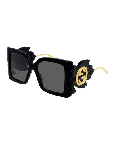 Square Acetate Sunglasses w/ Oversized Leaf & GG Temples