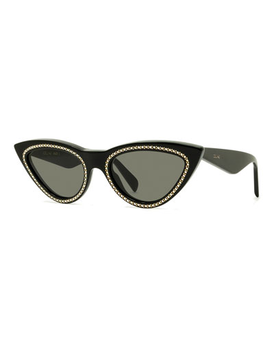 Studded Cat-Eye Acetate Sunglasses