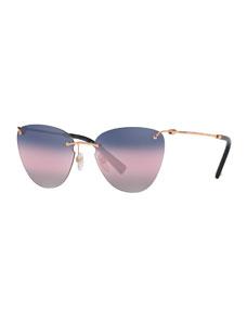 Rimless Cat Eye Sunglasses by Valentino
