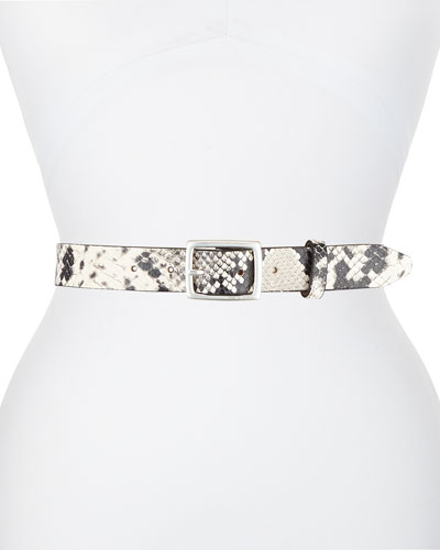 Boyfriend Snake-Print Leather Belt