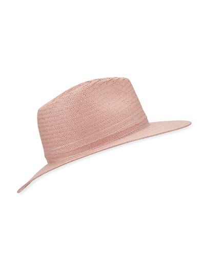 Packable Straw Fedora Hat with Stitching
