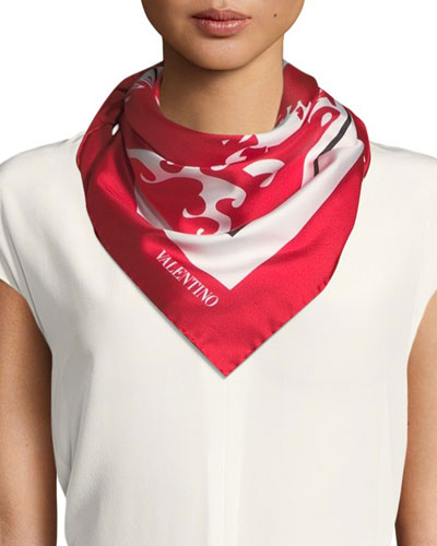 Silk Logo Waves Scarf