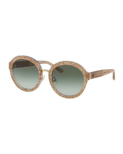 Round Contrast-Temples Acetate Sunglasses