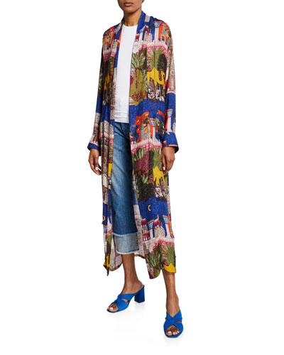 Camel Self-Tie Long Kimono