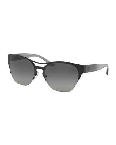 Semi-Rimless Square Metal Sunglasses