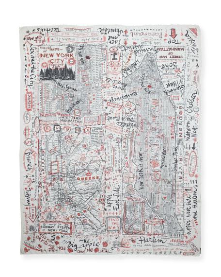 New York Print Fringe Scarf