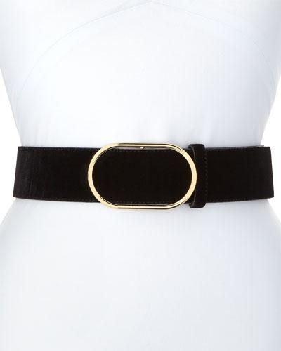 Oval-Ring Velvet Leather Belt