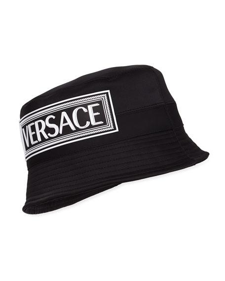 Satin Bucket Hat w/ Rubber Logo Patch