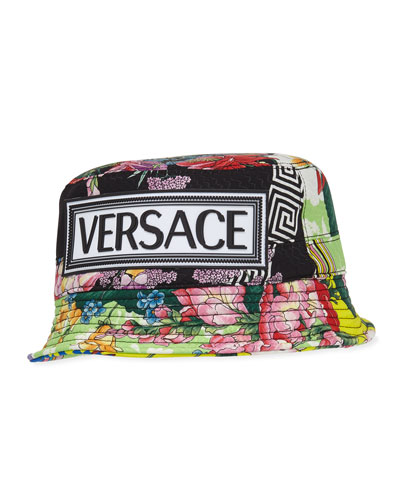 Floral Silk Bucket Hat w/ Rubber Logo Patch