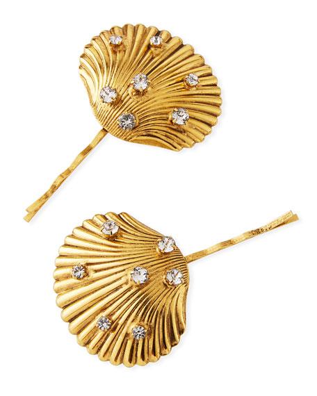 Poseidon Brass Clam Shell Bobby Pins, Set of 2