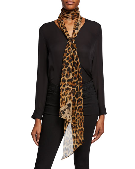 Leopard Print Large Silk Neck Tie