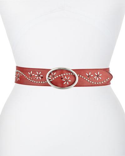 Flower Studded Leather Belt