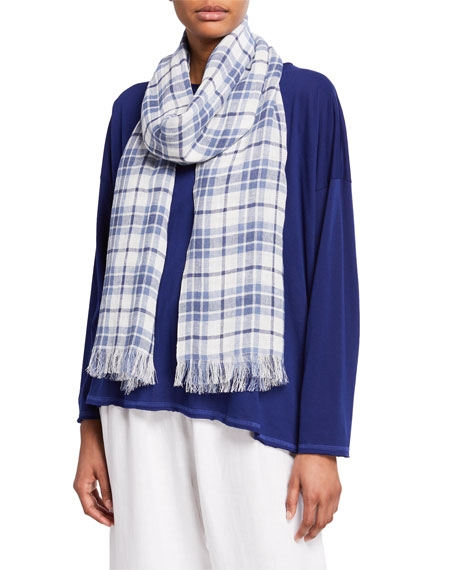 Madras Plaid Scarf w/ Fringe