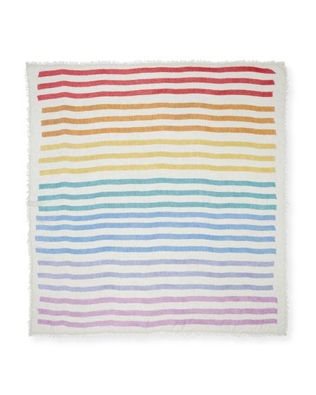 Rainbow Stripe Fringe Scarf