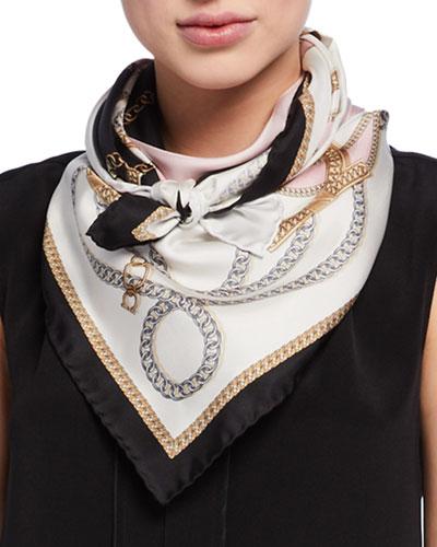 Foulard Chains Printed Silk Scarf