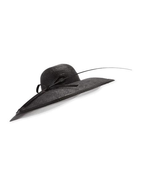 Capelina Mechanical Braid Hat w/ Sisal Bow & Feather