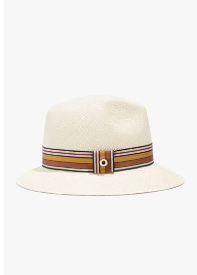 Ingrid Straw Panama Brisa Hat w/ Multi-Stripe Band