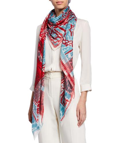 Batik Print Cashmere-Silk Scarf