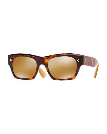 Oliver Peoples Sunglasses ISBA MIRRORED PLASTIC SUNGLASSES - WASHED ROSE