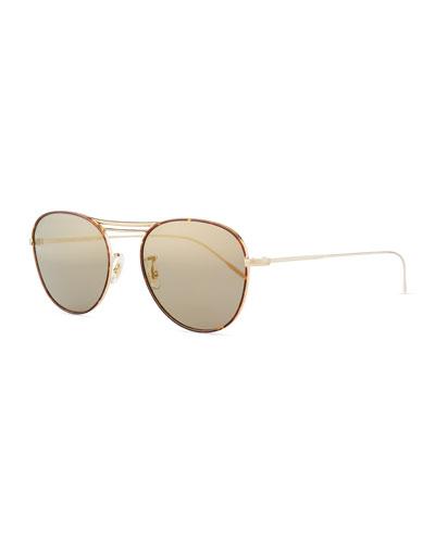 Cade Mirrored Aviator Sunglasses  Graphite/Gold