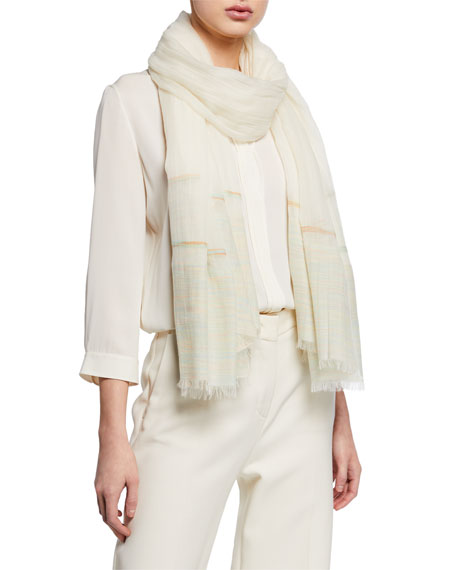 Loro Piana Accessories WOVEN STRIPED FRINGE STOLE