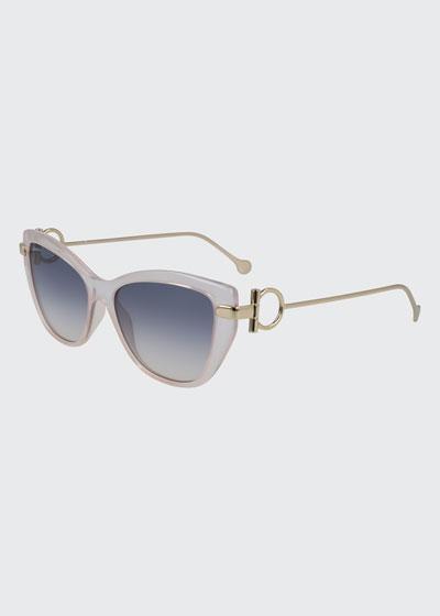 Gancio Cat-Eye Plastic & Metal Sunglasses