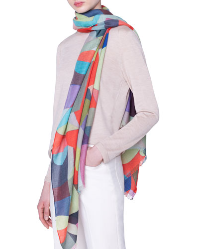 Printed Cashmere-Silk Scarf