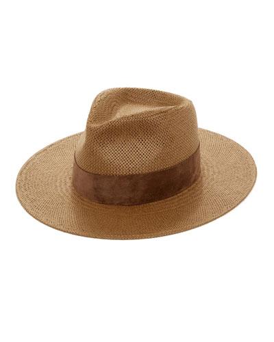 110cc7510d10e Luna Straw Fedora Hat w  Suede Hat Band