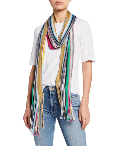 Multi-Striped Scarf w/ Long Fringe Ends