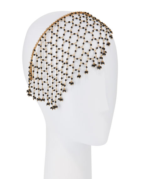 Rosantica Accessories CARMEN BRASS & ONYX VEILED HEADBAND