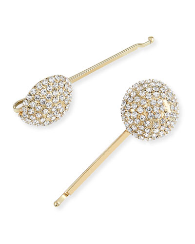 Strobo Crystal Embellished Brass Bobby Pins  Set of 2