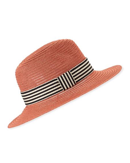 Eugenia Kim Courtney Packable Fedora Hat w/ Striped