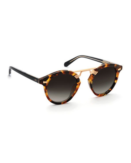 KREWE St. Louis II Two-Tone Round Acetate Sunglasses