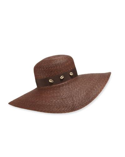 Large Brimmed Straw Hat w/ Brass Shells