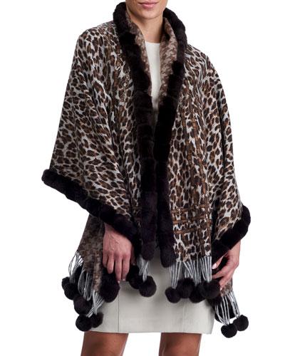 Double Face Cashmere Leopard-Print Stole w/ Rabbit Fur Trim