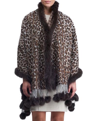 Double Face Cashmere Leopard-Print Stole w/ Fox Fur Trim