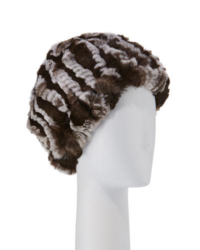 Striped Knit Fur Hat