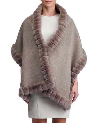 Wool Stole w/ Rex Rabbit Fur Trim