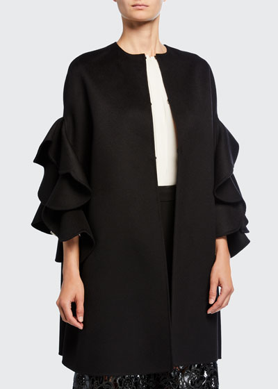 Ruffled Compact Draped Cape