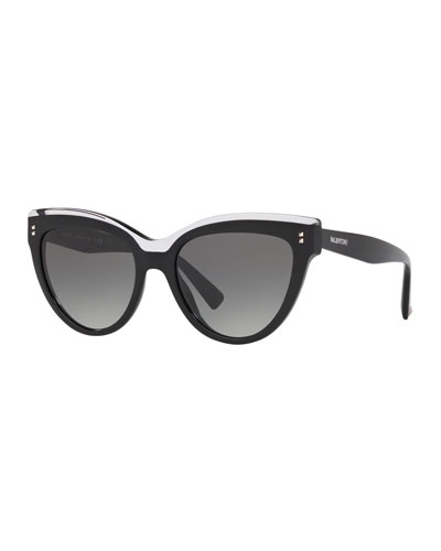 Rockstud Rivet Two-Tone Cat-Eye Sunglasses