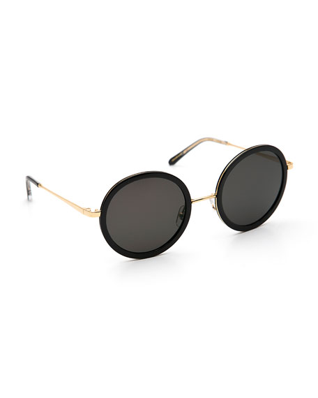 Krewe Sunglasses LOUISA ROUND GRADIENT SUNGLASSES