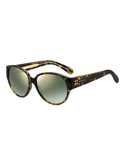 Mirrored Oval Acetate Sunglasses