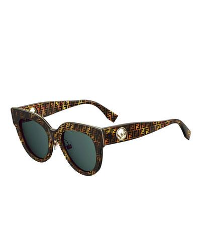FF-Print Round Acetate Sunglasses