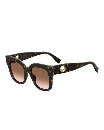 Square Acetate Sunglasses w/ Inset Logo Temples