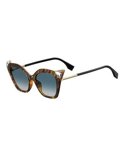 Crystal-Trim FF-Print Cat-Eye Sunglasses