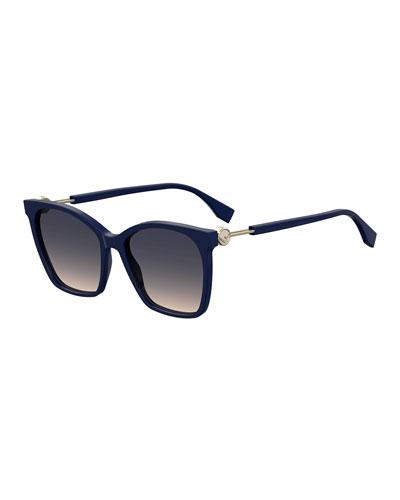Rectangle Acetate & Metal Gradient Sunglasses