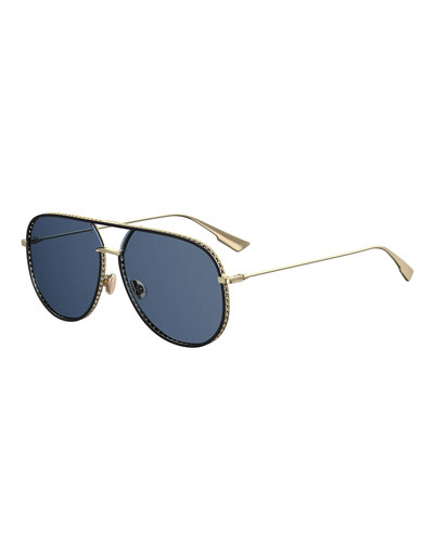 Aviator Cutout Metal Sunglasses