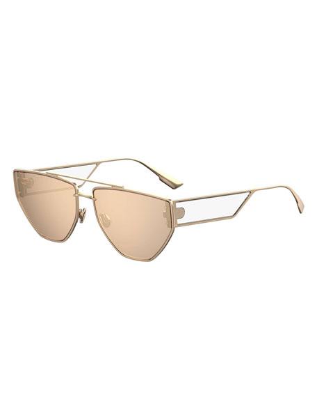 DiorClan2 Metal Rectangle Sunglasses