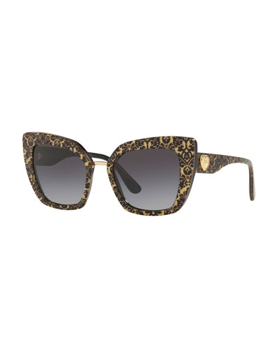 Metallic Damask Printed Cat-Eye Sunglasses